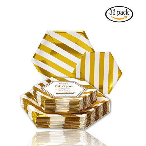 PARTY DISPOSABLE 36 PC DINNERWARE SET | 18 Dinner Plates | 18 Side Plates | Heavy Duty Disposable Paper Plates | Hexagon Design | for Upscale Wedding and Dining (Stripe Collection - White/Gold)]()