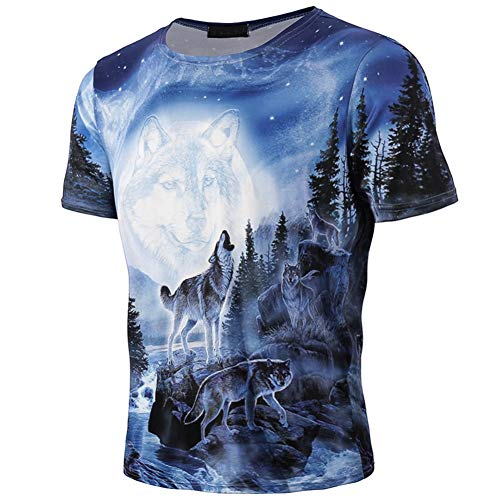Men 3D Printing Tees Shirt Summer Casual Short Sleeve T Shirt Full Moon Party Wolf T-Shirt by Lowprofile Blue