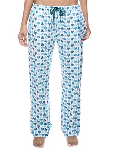 Women's Cotton Flannel Lounge Pants - Scribbled Hearts White/Blue - 3XL
