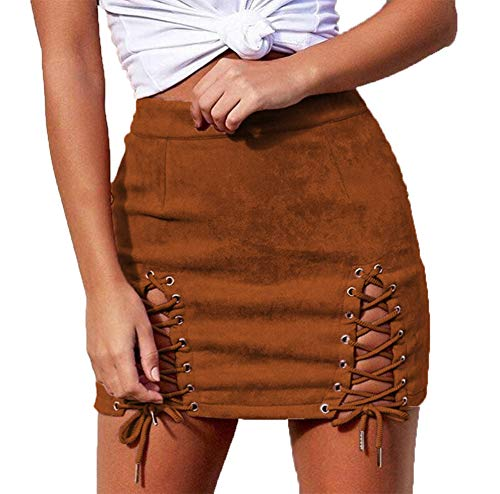 Helisopus Women Sexy Winter High Waist Lace Up Tight Bodycon Faux Suede Short Pencil Mini Skirt Brown ()