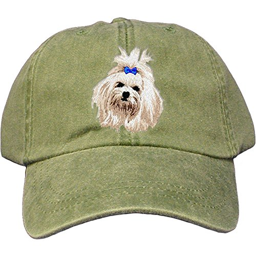 (Cherrybrook Dog Breed Embroidered Adams Cotton Twill Caps - Spruce - Maltese)