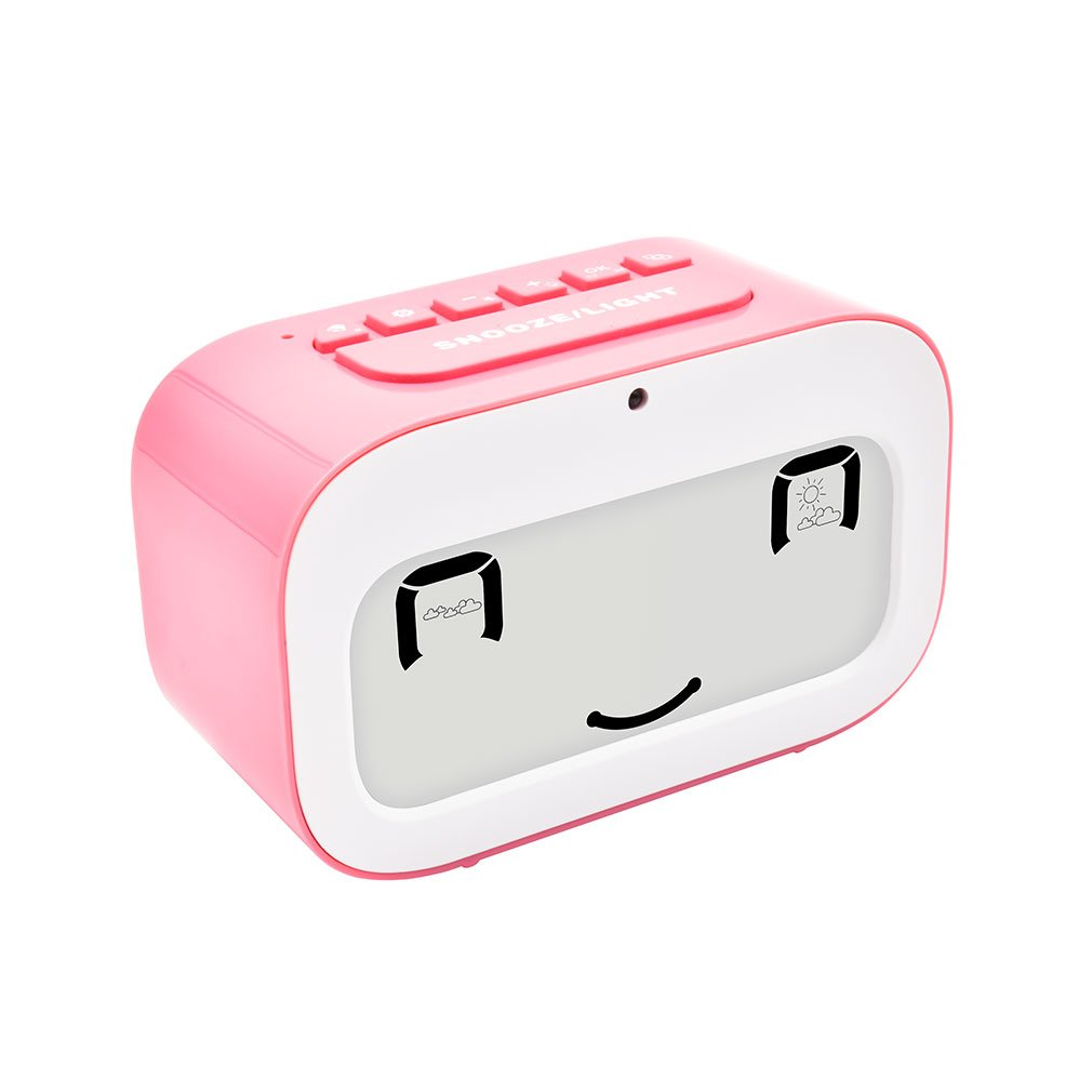 GEREE Alarm Clock, Cute Emoji desk clock Smart backlight/temperature/ Snooze Wake Up Alarm Clocks for Bedrooms, Office Desk Cube Alarm Clock Battery Operated Best Gift for Kids, Family (Blue)