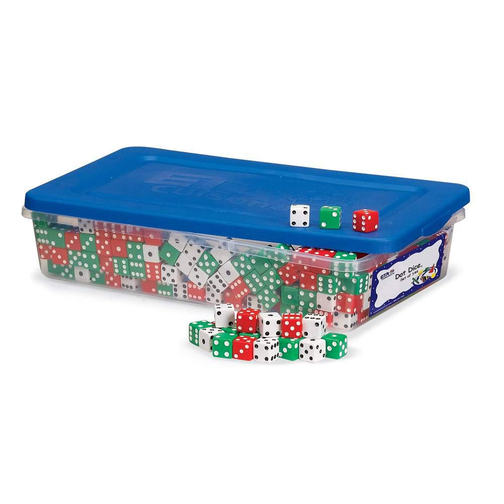 hand2mind Red, Green and White Dot Dice (Set of 144) by hand2mind