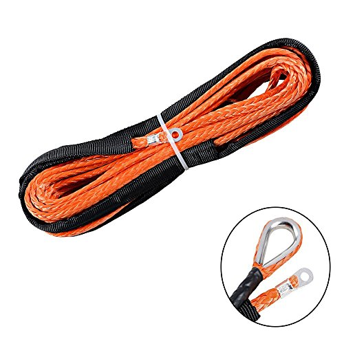 """Orange 1/4"""" x 50ft Synthetic Winch Rope Line Cable 6400LBs+ with Sheath Thimble ATV UTV Truck Boat Pick-up Truck"""