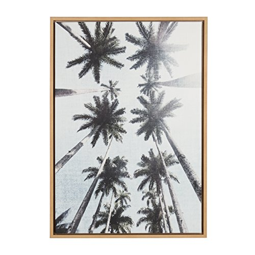 Kate and Laurel Sylvie Row of Palm Trees Natural Framed Canvas Wall Art by Simon Te Tai