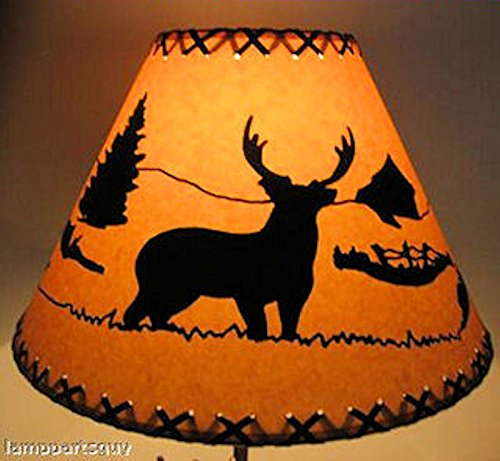 14 Inch Deer Rustic Lamp Shade.....Click on Photos to View Sizing and Style Options! - Cone Top Bracket