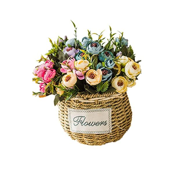 CL European Artificial Decoration Flower Bouquet Rose Camellia Carnation Calliopsis Sunflower Narcissus Little Daisy Flower Simulation Home Furnishing Silk Art Room Decorative Flower Pot (Color 7)