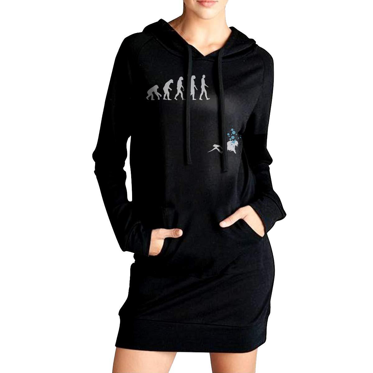 Sport Outwear with Pockets NVWEIYIJW Evolution of Man Funny Scuba Divi Womens Pullover Sweatshirt Long Hoodies Dress