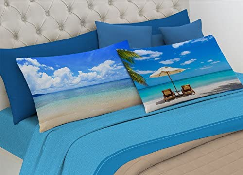 BIANCHERIAWEB Completo sábanas (100% algodón Linea Digital Spin-Off Dibujo Horizon: Amazon.es: Jardín