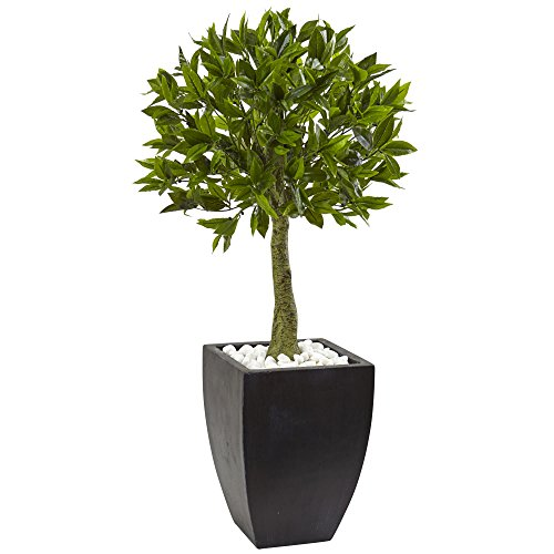 Nearly Natural 5950 42'' UV Resistant (Indoor/Outdoor) Bay Leaf Topiary with Black Wash Planter by Nearly Natural