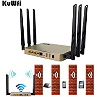 KuWFi 2000mW 802.11 AC 1200Mbps 128MB Wireless Dual Band WiFi Router Extender WiFI Router Antenna Long Range WiFi Repeater AP Cover Long Area Support more than 100Users easy to Use Through walls