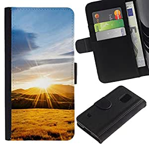 Paccase / Billetera de Cuero Caso del tirón Titular de la tarjeta Carcasa Funda para - Nature Mountain Sunset - Samsung Galaxy S5 V SM-G900