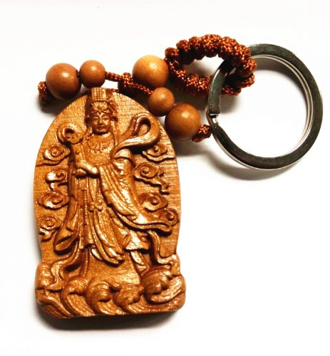 Feng Shui Peach Wood Curved Mazu (Matsu) Goddess Key Ring for Protection (With a Betterdecor Pouch) ()