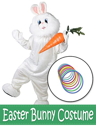 Classic Easter Bunny Mascot with Glow Necklaces Costume