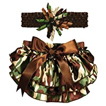Stephan Baby 762424 Ruffled Diaper Cover and Curly Headband Gift Set, Camo Print