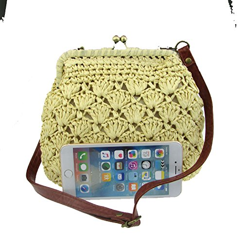 Donalworld Lady Mini Hollow Out Casual Beach Bag Hasp Straw Shoulder Bag Beige by Donalworld (Image #2)
