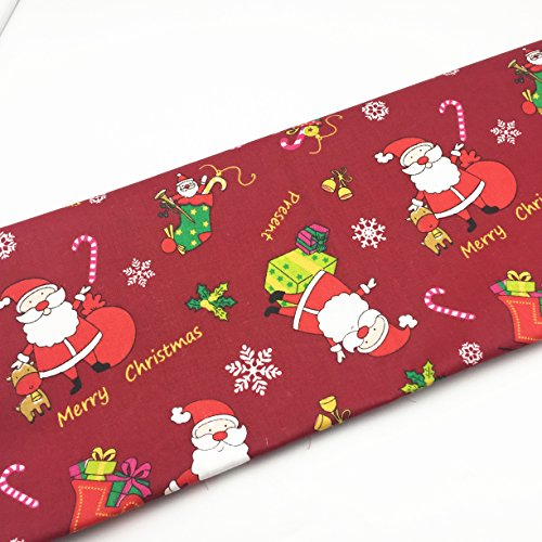 160cm (Wide) X 50cm(Length) New Christmas Santa Snowflake Printed 100% Cotton Fabric for Patchwork Quilting Baby Garment Cushions Blanket Sewing Material (Red Christmas)