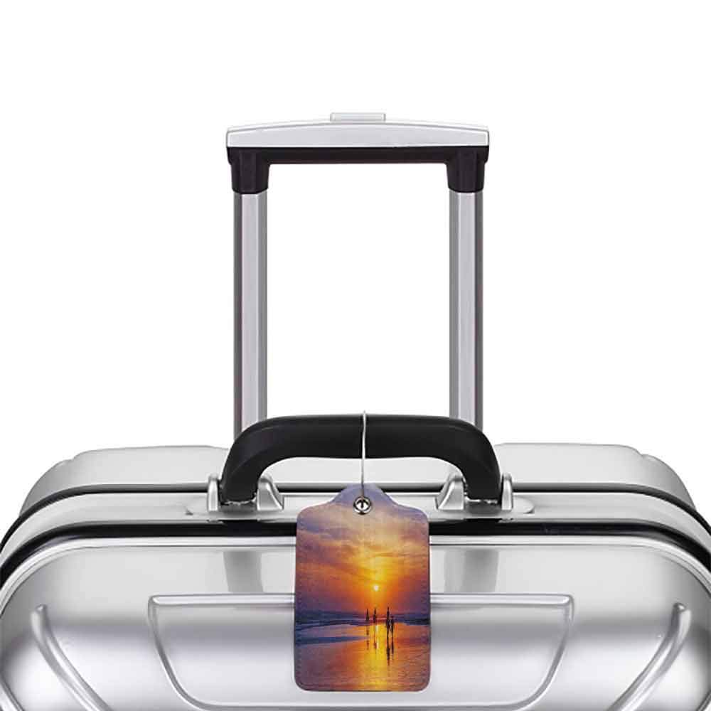 Soft luggage tag Holiday Happy Family on Vacation on the Beach at Sunset Sky Relax Travel Summer Resort Design Bendable Orange Blue W2.7 x L4.6