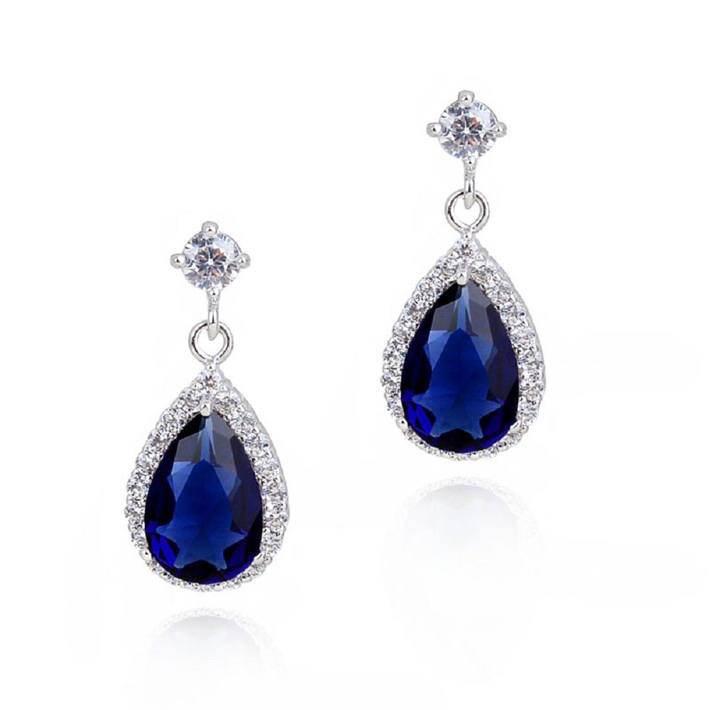 Teardrops Dangle Earrings with Blue Simulated Sapphire Zirconia Crystals 18 ct White Gold Plated for Women Crystalline CA-AZ-CR-0052