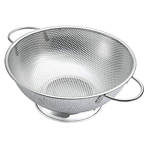 Stainless Steel Micro-perforated 5-Quart Colander - Built with Solid Handles and Ring Base - Dishwasher Safe