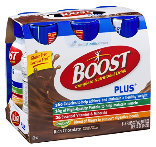 Boost Plus Complete Nutritional Drink Rich Chocolate , 6 PK (Pack of 4)