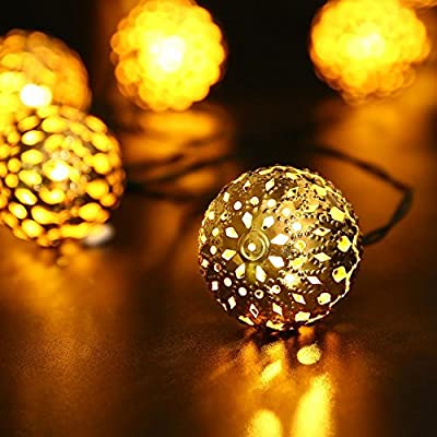 Solar Led String Lights, Foneso 20led Ball Lights For Home, Patio, Graden, Holidays, Party, Christmas Trees, Indoor and Outdoor Decorations - Warm White