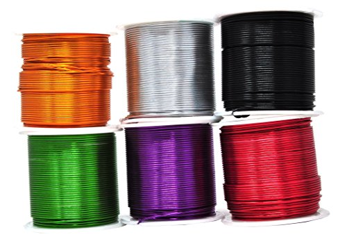 zed Aluminum Wire for Sculpting, Armature, Jewelry Making, Gem Metal Wrap, Garden, Colored and Soft, Assorted 6 Rolls (18 Gauge, Combo 3) ()