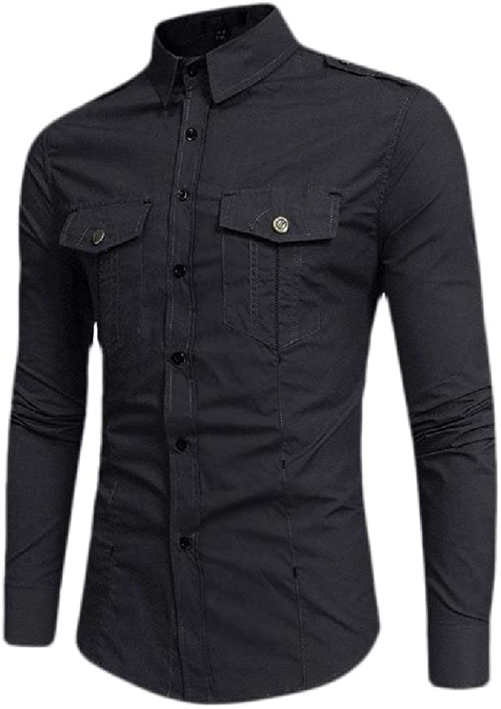 Cromoncent Mens Lapel Neck Cargo Long Sleeve Button Down Shirts with Pocket