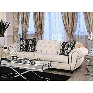 Amazon.com: Furniture of America Elena Transitional Sofa in ...