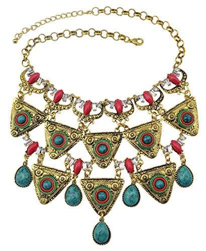 d Silver Plated Inlay Rhinestone Turquoise Drops Triangle Tassel Choker Bib Necklace (Yellow) (Triangle Turquoise Inlay)