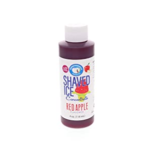 Red Apple Shaved Ice and Snow Cone Flavor Concentrate 4 Fl Ounce Size (makes 1 gallon of syrup with sugar and water added)
