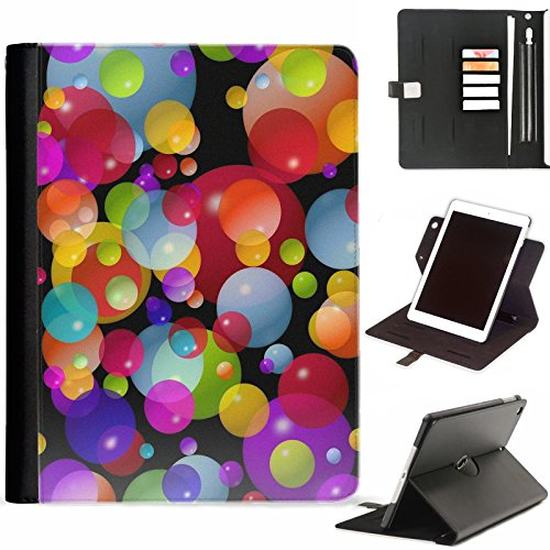 Coloured Circles Multi - Hairyworm - Multi coloured circles Apple iPad Air, iPad 5 leather side flip wallet 360 swivel case, folio cover with Apple pencil / pen holder, card slots, paper slot, metal buckle, stand points