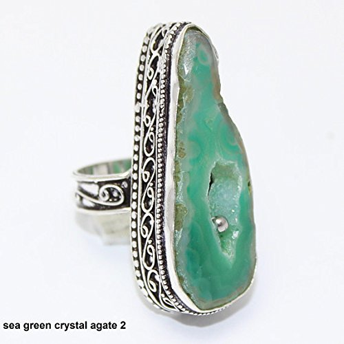 Silver Vintage Overlay (Sea Green Crystal Druzy Agate Ring Silver Overlay Fashion Jewellery Vintage Handmade Jewelry 7.25 US Size.)