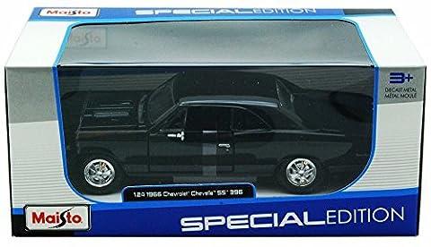 Maisto 1966 Chevy Chevelle SS396 1/24 Scale Diecast Model Car Black (Chevelle 66)
