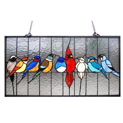 (Chloe Lighting Tiffany-Glass Featuring Birds in The Cage Window Panel 24.5X13)