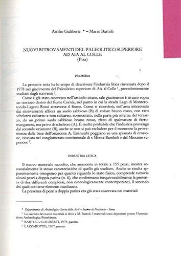 Nuovi ritrovamenti del Paleolitico Superiore ad Aia al Colle (Pisa) . (Mario Bartoli)