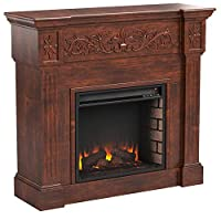 Carved Electric Fireplace - Elegant Mant...