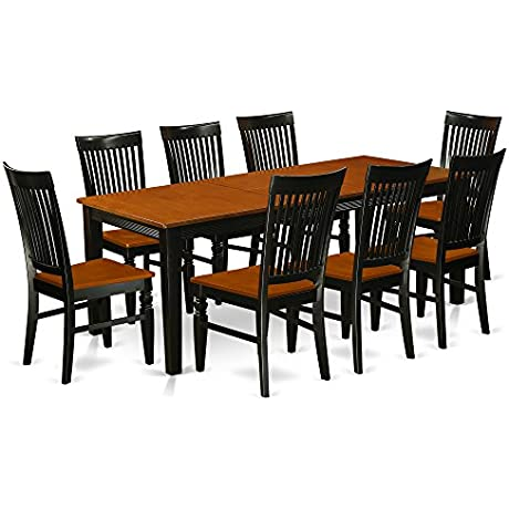 East West Furniture QUWE9 BCH W Quincy 9 Piece Black And Cherry