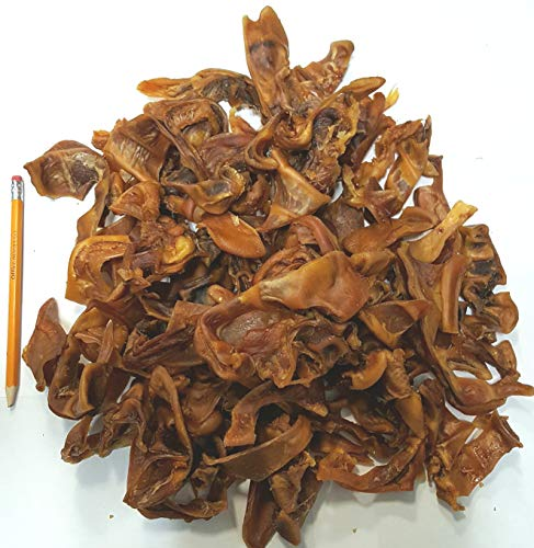 ZMF Dog Dog Cat Pig Ear Strips - a Delicious Chewy Treat Dog's Love, it Isn't The Whole Pig Ear in one Piece and Includes The Base of The Ear in Random Sizes.