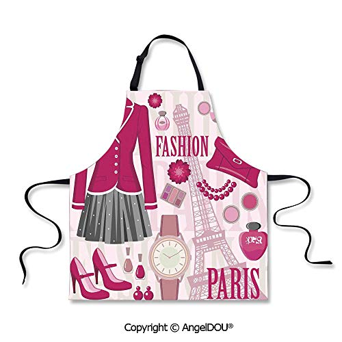SCOXIXI Adult Kitchen Dinner Party Cooking Apron Fashion Theme in Paris with Outfits Dress Watch Purse Perfume Parisienne Landmark for Cooking Baking Gardening.