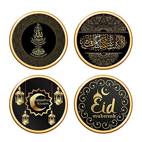 BrawljRORty Wall Stickers for Bedroom, Living Room, Kitchen, Bathrooms - 4Pcs Painting Muslim Crescent Ramadan Decal Wall Sticker Decoration by BrawljRORty