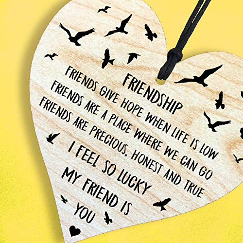 Resmoni I Feel So Lucky My Friend is You - Handmade Wooden Perfect Hanging Heart Plaque-Sign Gift for Your Best Friendship
