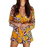 Gyoume Long Sleeve Jumpsuit Floral Print Mini Playsuits Summer Strappy Rempers Short Pants