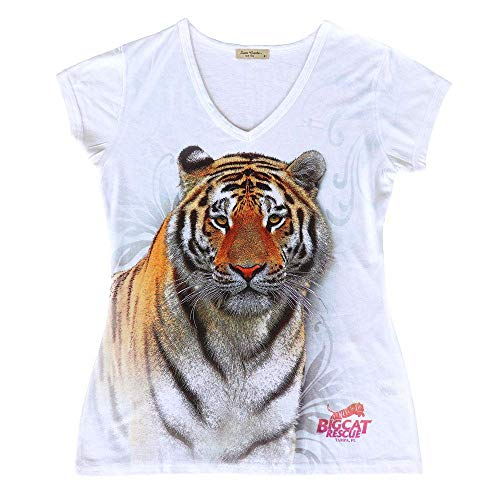 (Big Cat Rescue T-Shirt - Swirling Tiger Women's Active Fitted V-Neck Tee Shirt White)