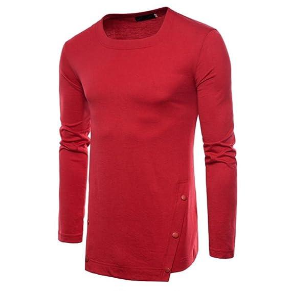 ♚Btruely Herren Camisetade Hombres de Cuello Redondo Sudaderas del Color sólido Blusa de otoño de los Hombres Top Blusa Suave Pullover Deportiva: ...