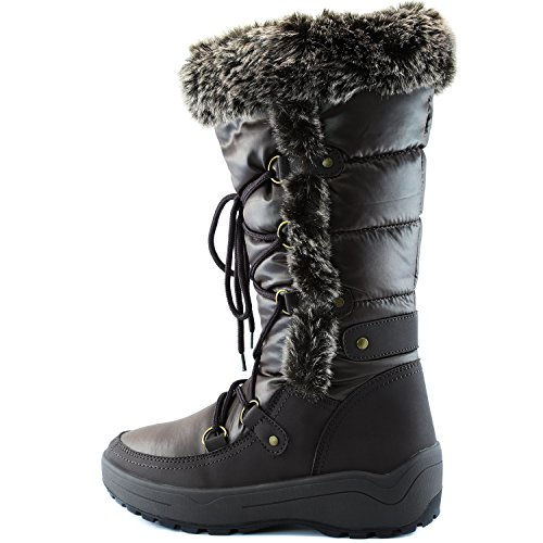 DailyShoes Frauen-Frauen-Knie-Hoch-up Warmes Pelz-Wasser-beständige Eskimostiefel Braun