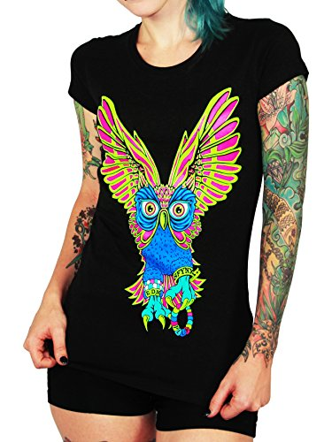 SFYNX PLUR Owl' Women's Rave T Shirt - Glow In The Dark EDM Clothing - Black Light Reactive Tee (Large) (T Plur Shirt)