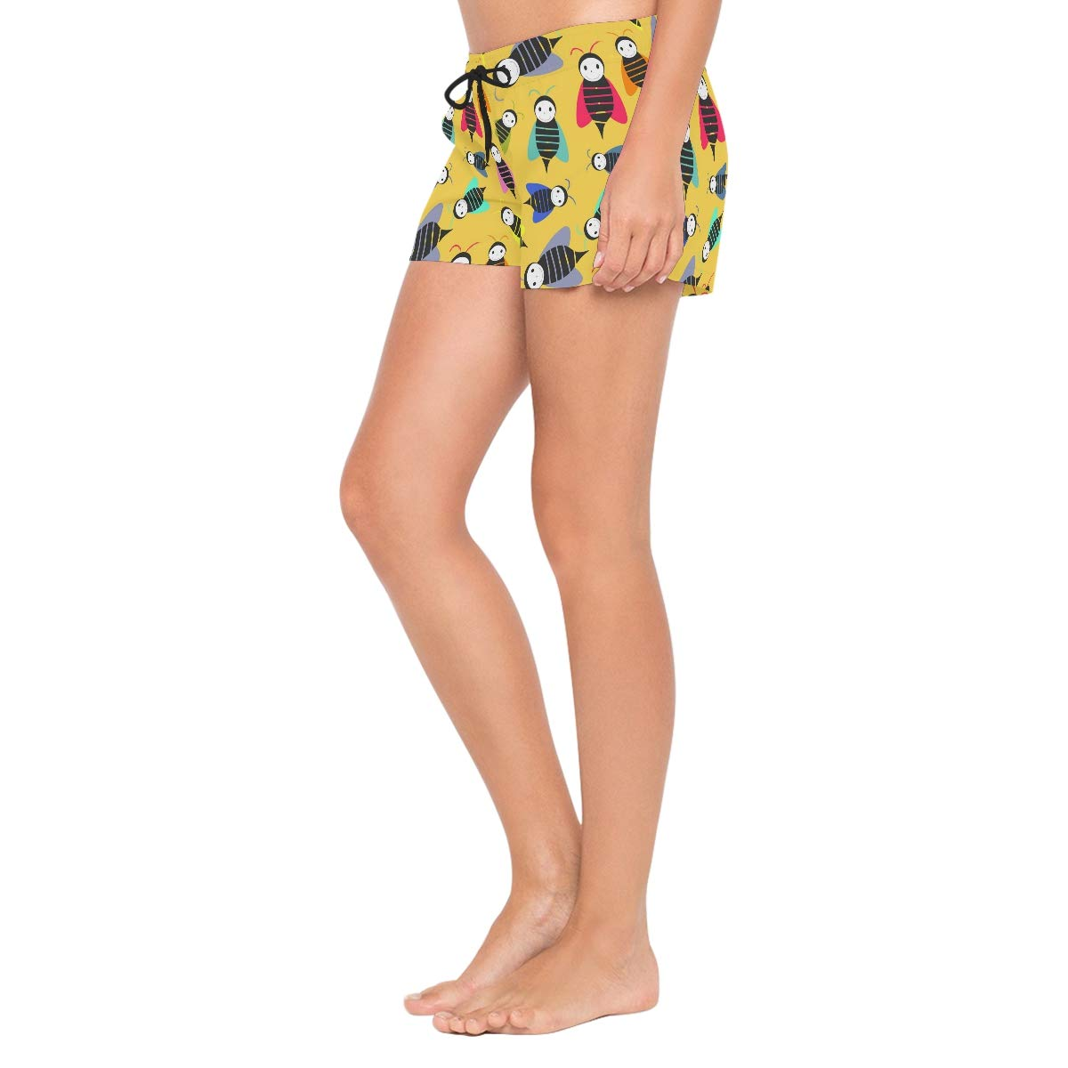 Bees Animal Pattern Womens Sport Beach Swim Shorts Board Shorts Swimsuit with Mesh Lining