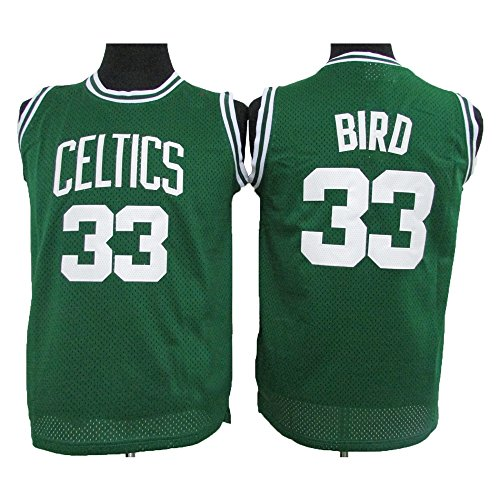 Larry Bird Celtics Jersey (Bird Jerseys Youth (Boys) Boston #33 Larry Jersey Kid's Basketball Jerseys Green (L))