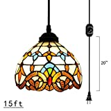 Kiven Plug-In Tiffany Chandelier Handmade Glass Pendant Lamp 15ft UL Black Cord With On Off Dimmer Switch Bulb Not Included (TB0204)
